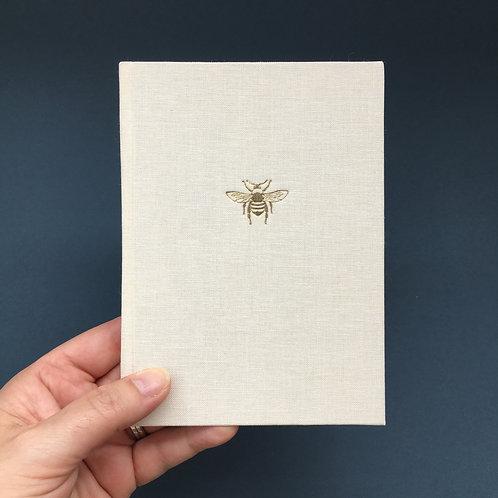 A6 Bee Linen Notebook-cream