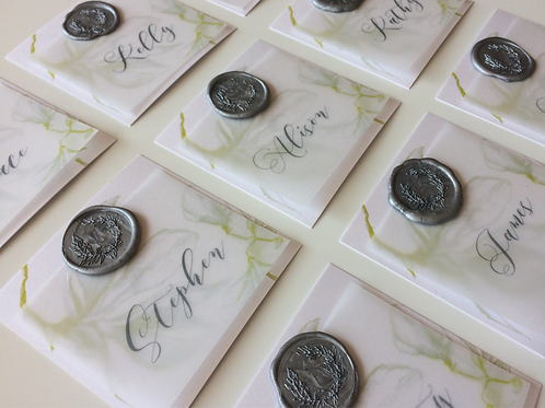 Place card with wax seal & vellum