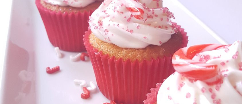 Marshmallow Frosting and Candy Cane Pieces