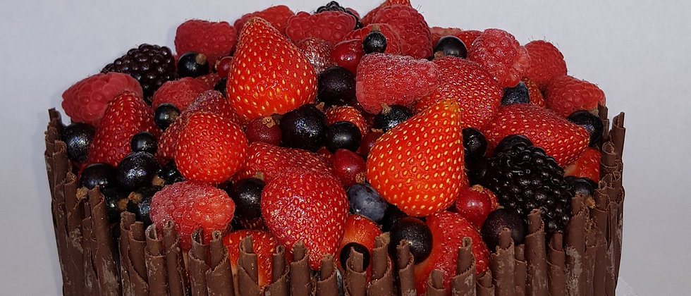 Jewelled Fruit and Cigarellos Cake