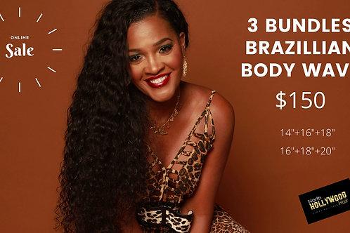 3 Bundle Set 5A Brazilian Body Wave Human Hair