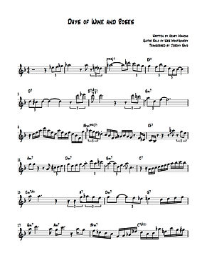 Days of Wine and Roses Transcription