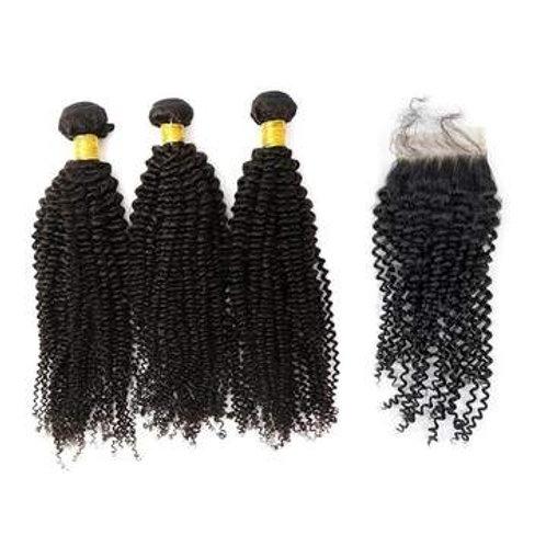 Brazilian Hair Kinky curly 3 Bundles +Closure
