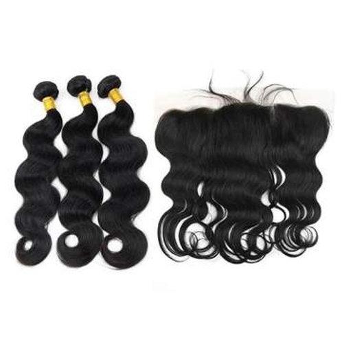 Brazilian Hair Bundles (3pcs) + Lace Frontal (1pc) Body Wave