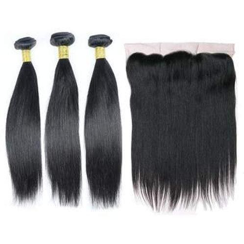 Brazilian Hair Bundles (3pcs) + Lace Frontal (1pc) Straight