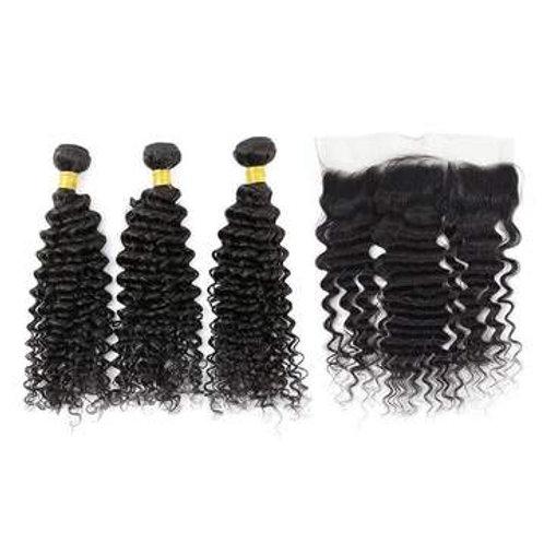 Brazilian Hair Bundles (3pcs) + Lace Frontal (1pc) Deep Wave