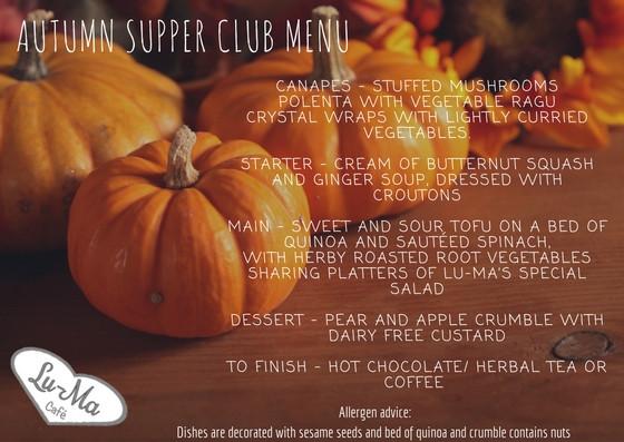 Autumn Supper Club Menu