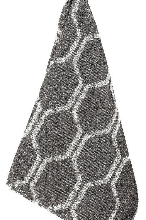 Nimikko handdoek klein, donkergrijs/wit