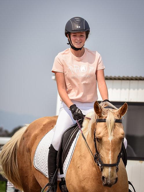 Pale Pink Trot Equestrian Logo T-Shirt