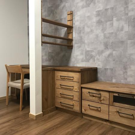 オーダーリビングカウンター(間取り、キッチン配置、内装各種の色や素材決め相談、オーダー家具・照明・カーテン施工)