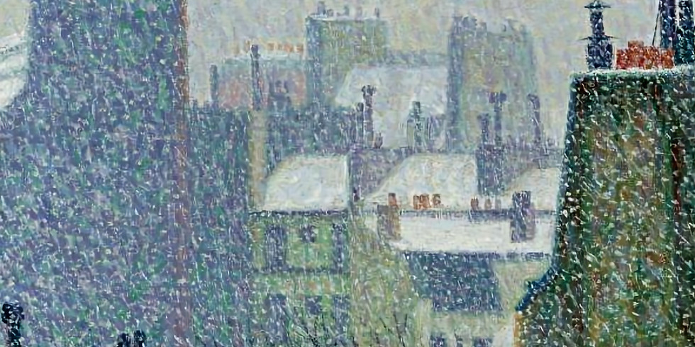 Paint it like Auguste Herbin. Roofs of Paris in the snow.