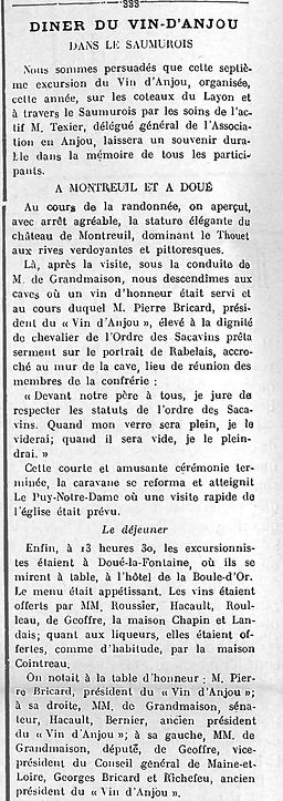 27 août 1938 Intronisation M Pierre Bric
