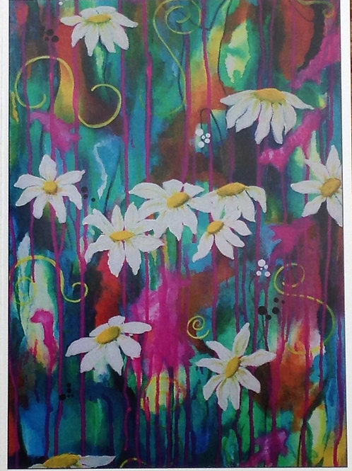 Daisies on Colourful Background