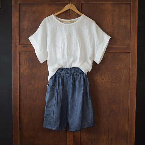 Small Batch Release:  'Denim' look - Linen Shorts and White Linen Tee Set