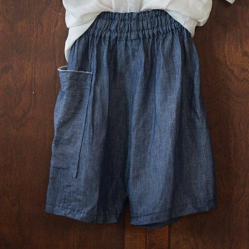 Small Batch Release: 'Denim' look linen shorts