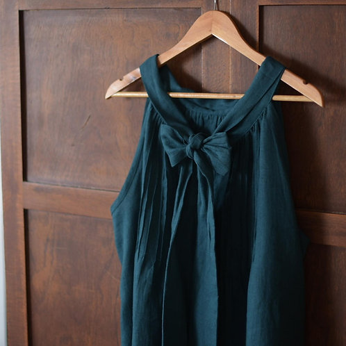 Bow Tie Linen Swing Dress
