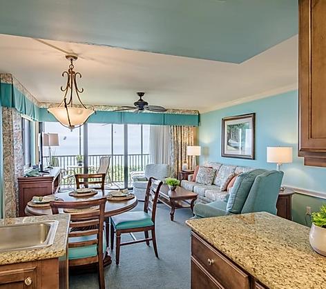 blue beachy hotel room interior designer