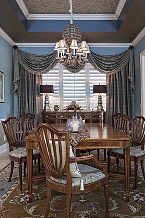 elegant coastal dining room with window
