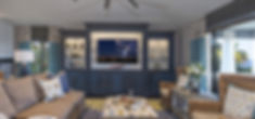custom blue coastal TV built-ins