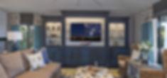 blue Coastal custom living room built-ins
