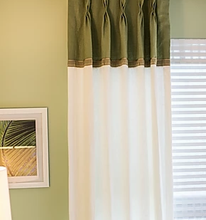green and white curtains