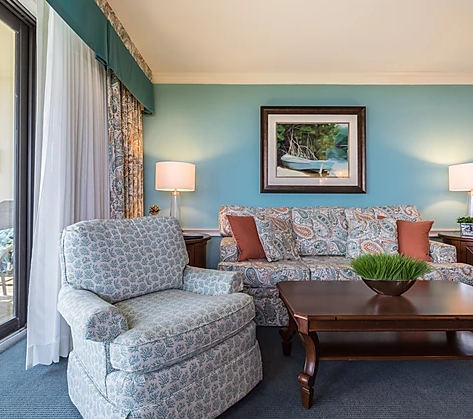 blue coastal hotel room