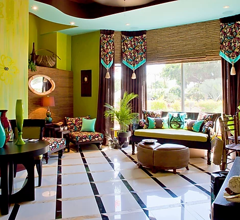 green colorful living room with brown