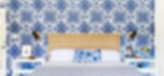 blue pattern wallpaper in coastal bedroom