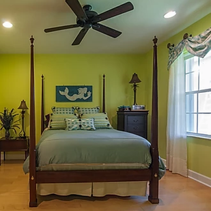 green coastal bedroom