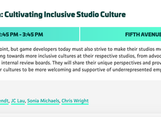 Panelist at PAX Dev 2019: Represent & Retain: Cultivating Inclusive Studio Culture