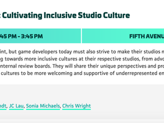 Panelist at PAX Dev 2019: Represent & Retain: Cultivating Inclusive Studio Culture