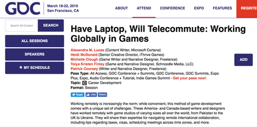 Speaker at GDC 2019: Have Laptop, Will Telecommute: Working