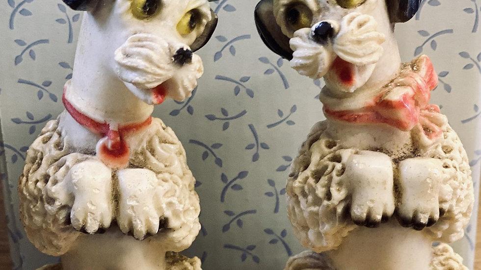 Pair of Lovely Vintage Chalk Plaster Poodles