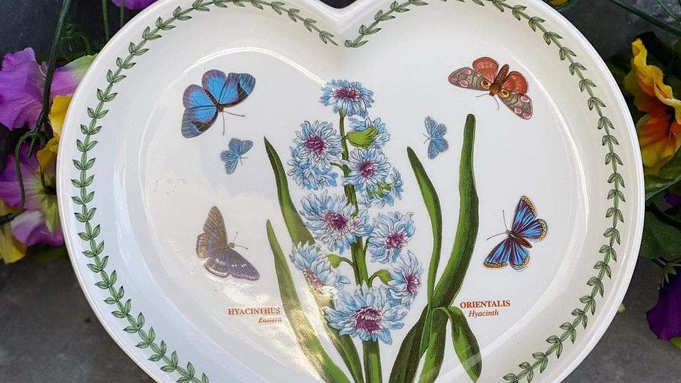Portmeirion Botanic Garden Heart Shaped Dish, Eastern Hyacinth
