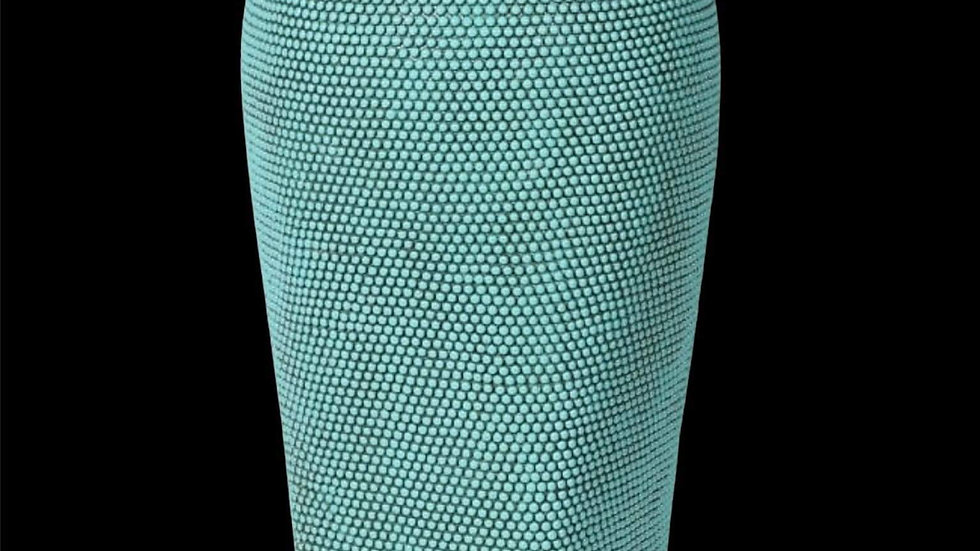 Turquoise & Gold Beaded Vase