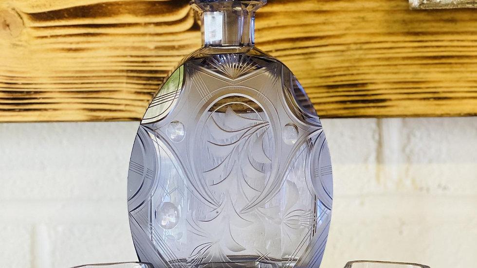 Italian Etched Liqueur Decanter & 6 Glasses