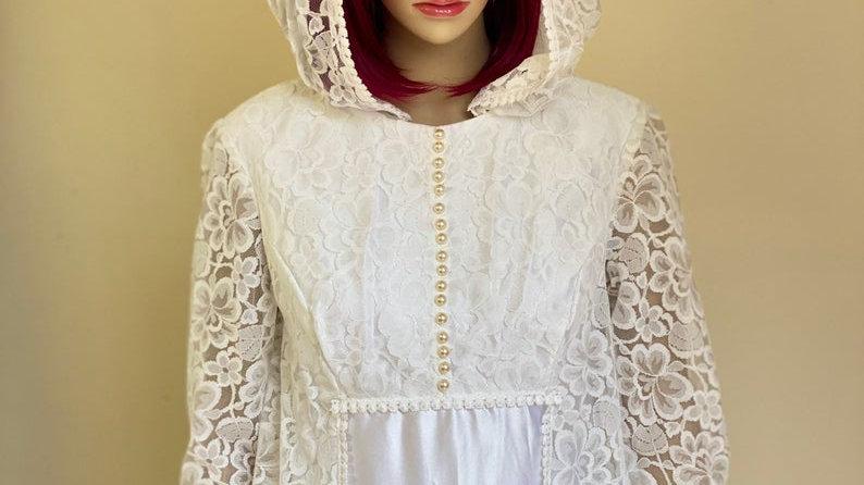Vintage 1970's Wedding Dress with Hood