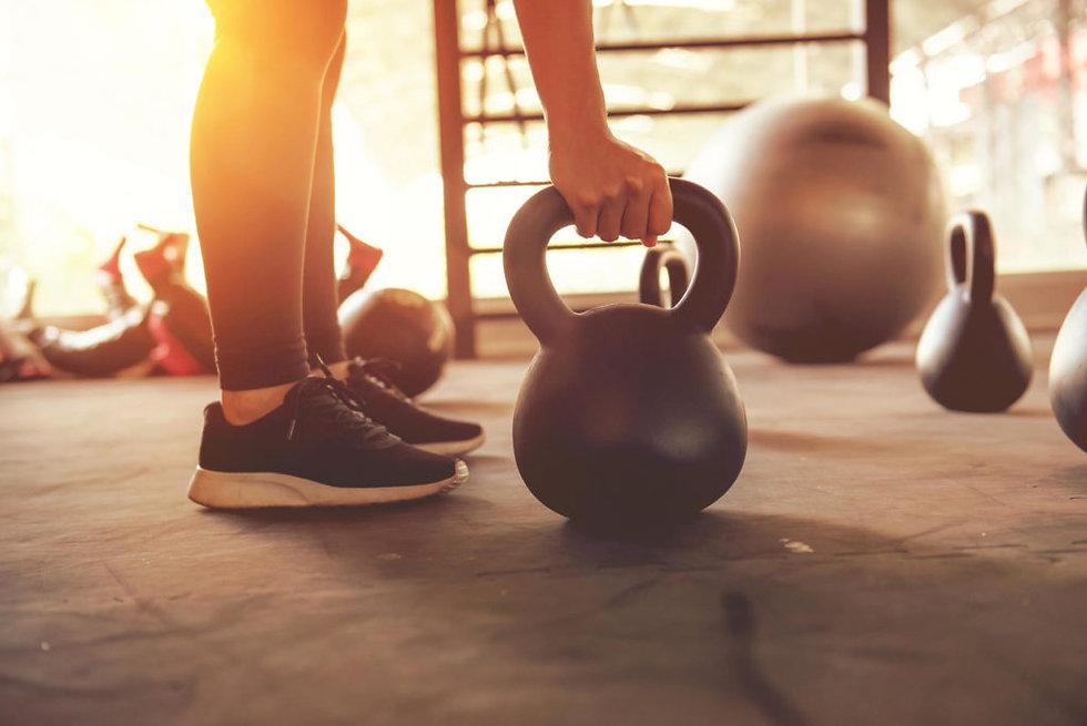 gym scene w kettlebell, swiss ball, gym ladder