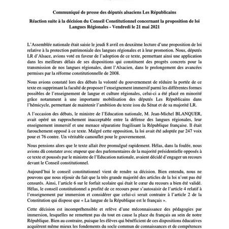 PROPOSITION DE LOI LANGUES REGIONALES : COMMUNIQUE DE PRESSE