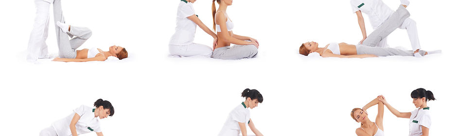 Set collection with many different images of the woman getting traditional thai stretching massage b