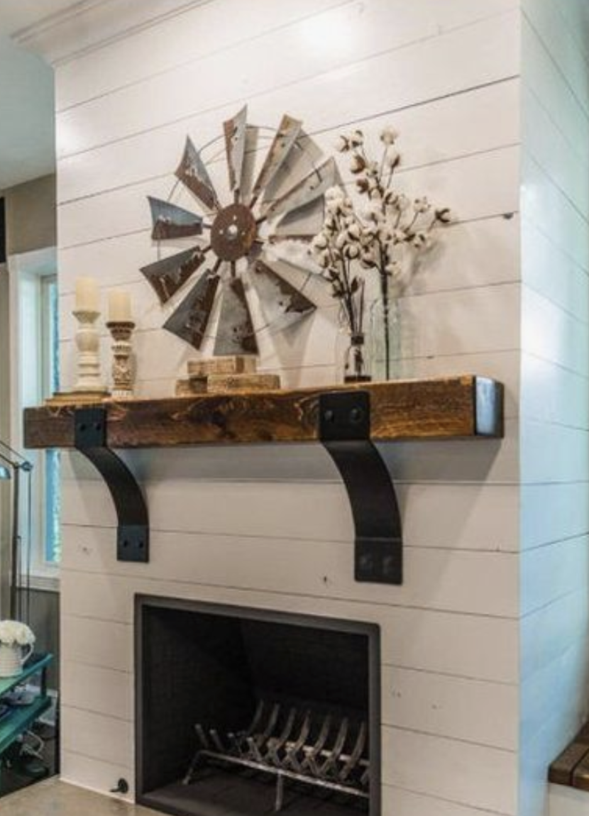 Shiplap with rustic mantel