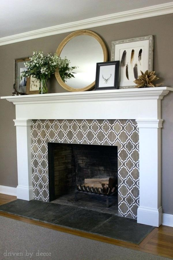 Tile under mantel surround
