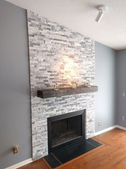 Floor to ceiling grey stacked stone
