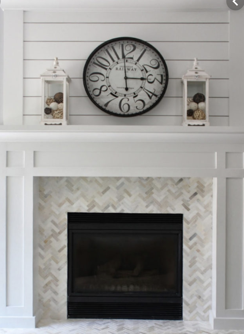 Shiplap over chevron pattern marble