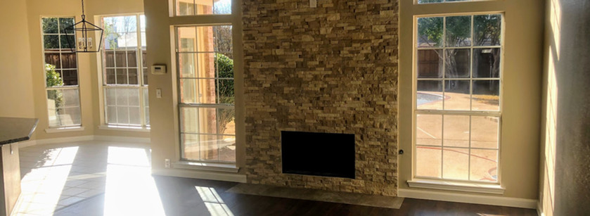 Stone ledger fireplace - our specialty