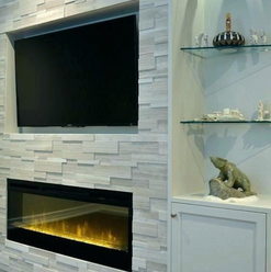 Faux fireplace with floor to ceiling led