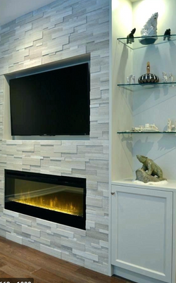 Faux fireplace with stone ledger