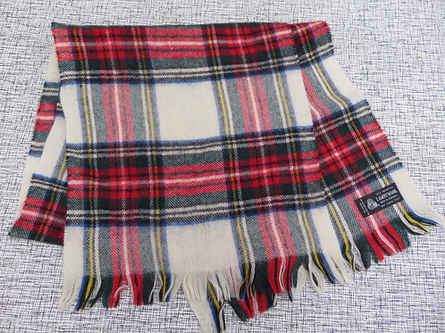Vintage Plaid Lambswool Scarf Off White Red Green
