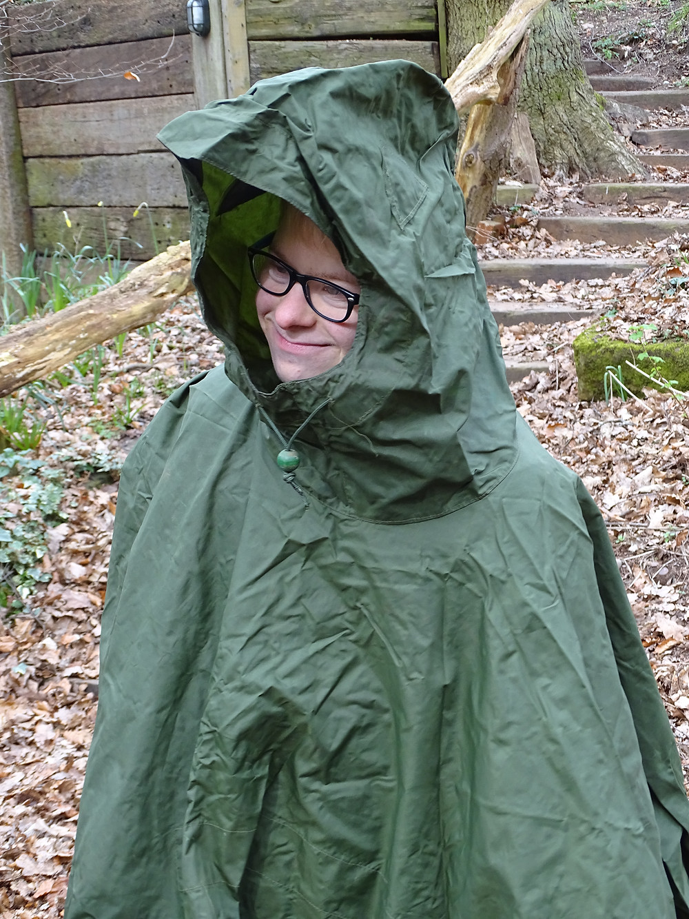 A student from Newark Orchard School dressing up in camouflaged clothing.