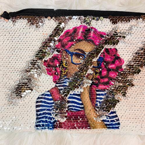 Magenta Goddess Flip Sequin Makeup Bag